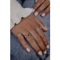 Bliss Silverplated Ring Zon Zwart