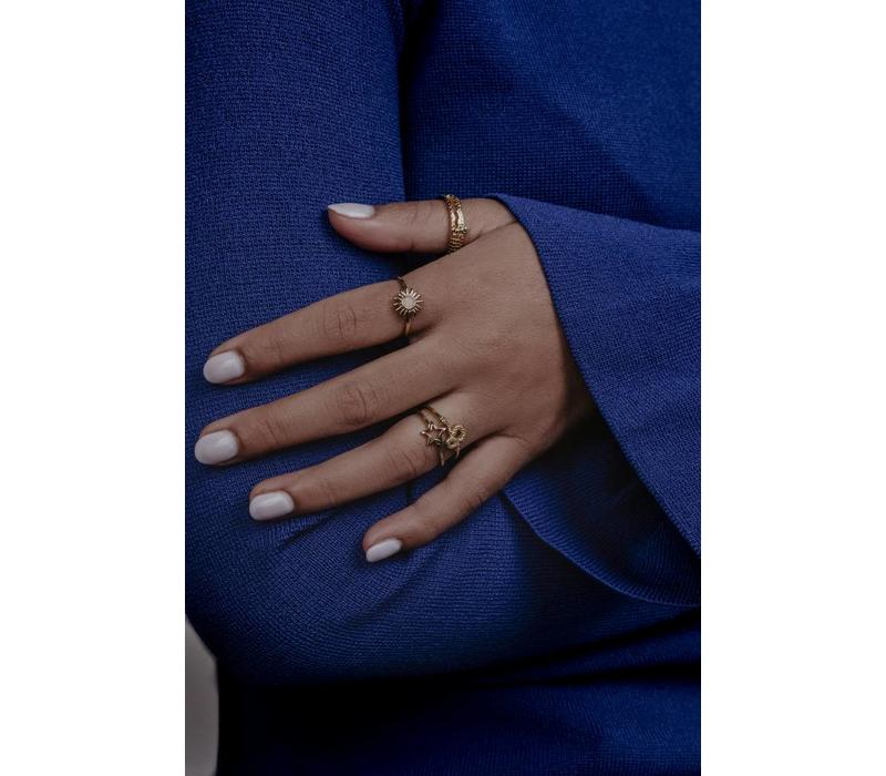 Bliss Goldplated Ring Zon Lichtroze