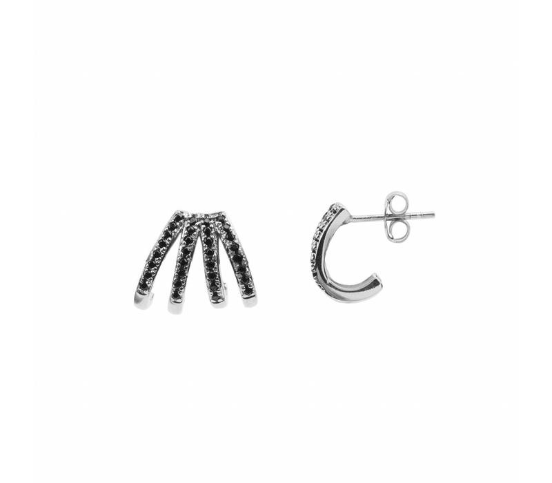 Earring 4 Split Black Onyx silver