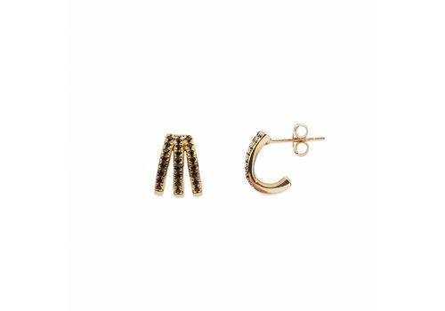All the luck in the world Earring 3 Split Black Onyx 18K gold