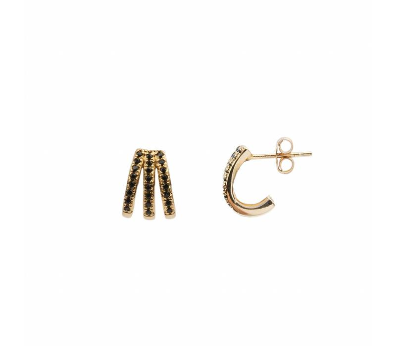 Earring 3 Split Black Onyx 18K gold
