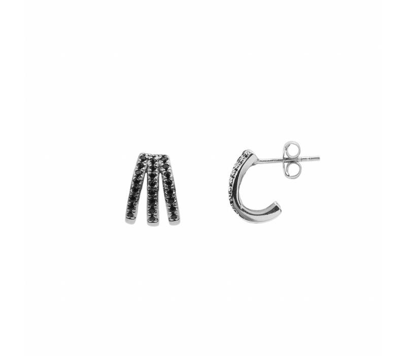 Earring 3 Split Black Onyx silver