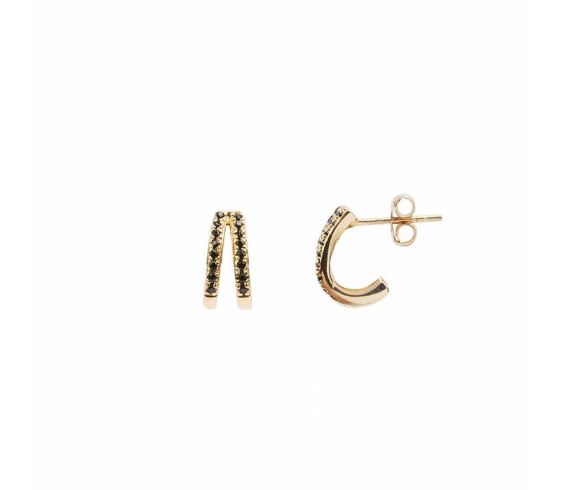 Earring 2 Split Black Onyx 18K gold