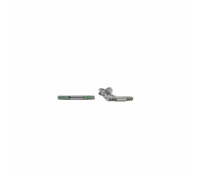 Bliss Silverplated Oorbel Bar Emerald groen