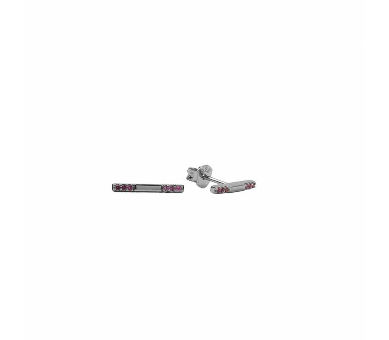 Earring Bar Ruby pink plated
