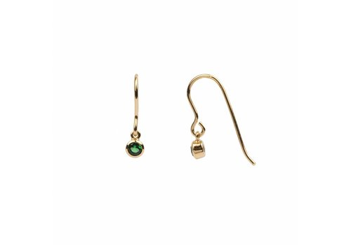 All the Luck in the World Earring Hook Emerald green 18K gold