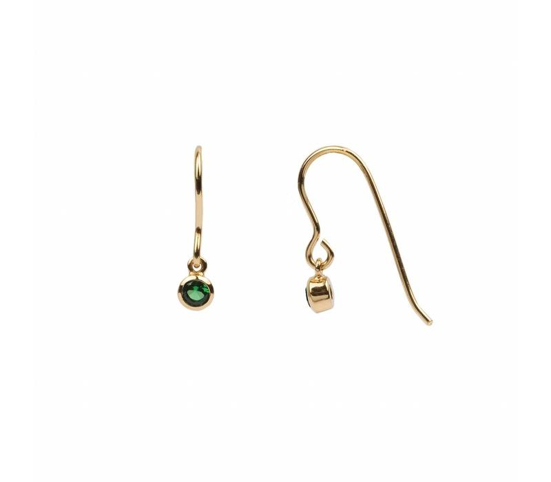 Earring Hook Emerald green 18K gold