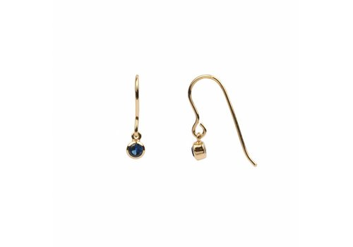 All the luck in the world Oorbel Hook Sapphire blauw 18k goud