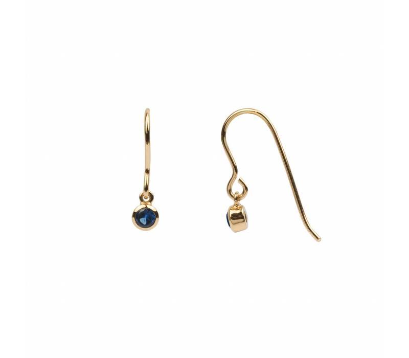 Bliss Goldplated Oorbel Hook Sapphire blauw