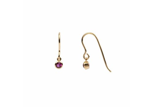 All the luck in the world Oorbel Hook Ruby roze 18k goud
