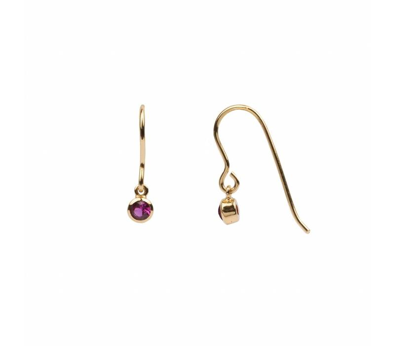 Oorbel Hook Ruby roze 18K goud