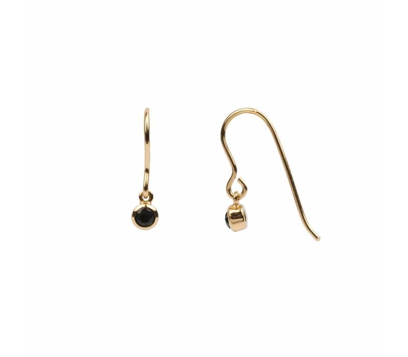 Earring Hook Black Onyx 18K gold