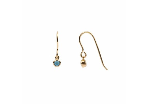 All the luck in the world Oorbel Hook Turquoise 18k goud