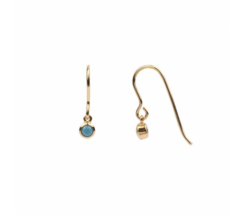 Bliss Goldplated Oorbel Hook Turquoise