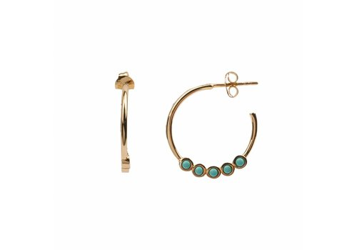 All the Luck in the World Earring Creole big Turquoise 18K gold