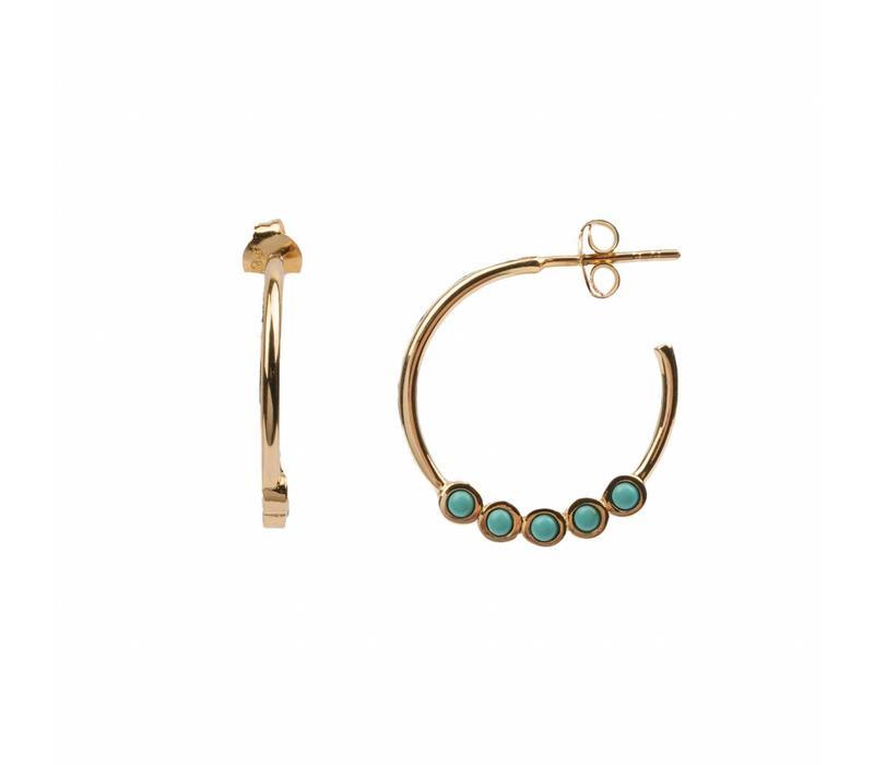 Bliss Goldplated Oorbel Creool groot Turquoise
