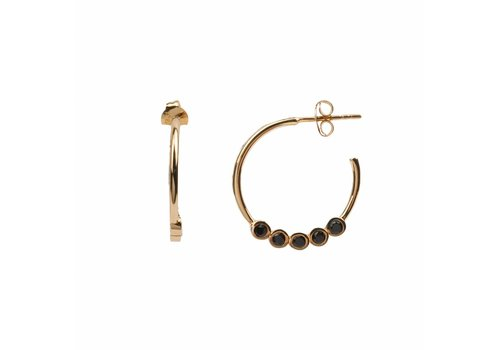 All the Luck in the World Earring Creole big Black Onyx 18K gold