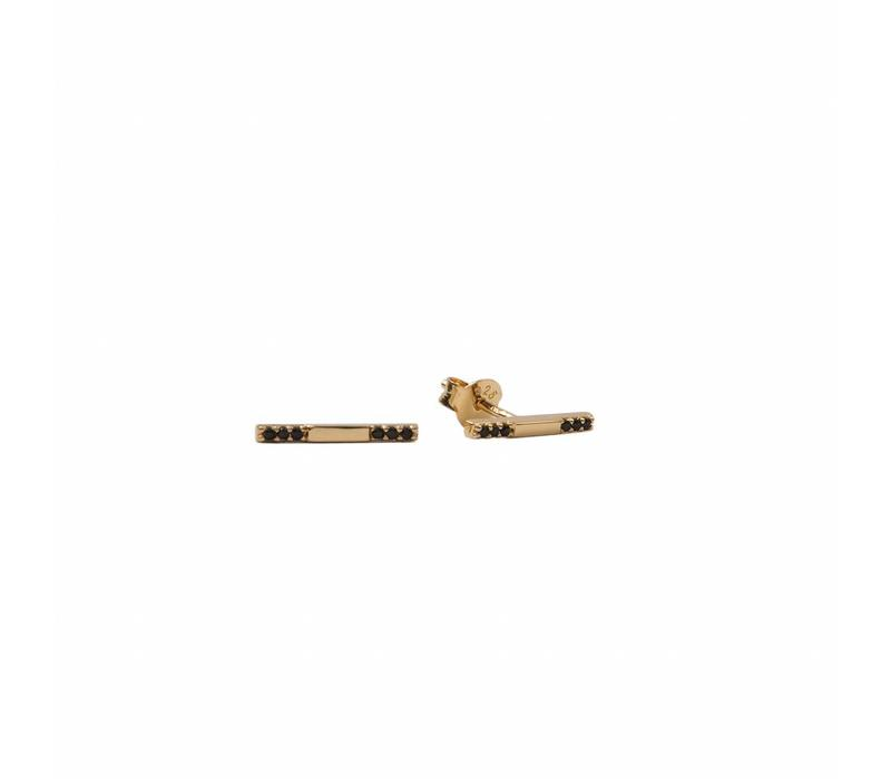 Bliss Goldplated Earring Bar Black Onyx