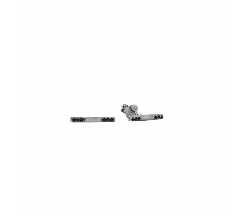 Bliss Silverplated Earring Bar Black Onyx