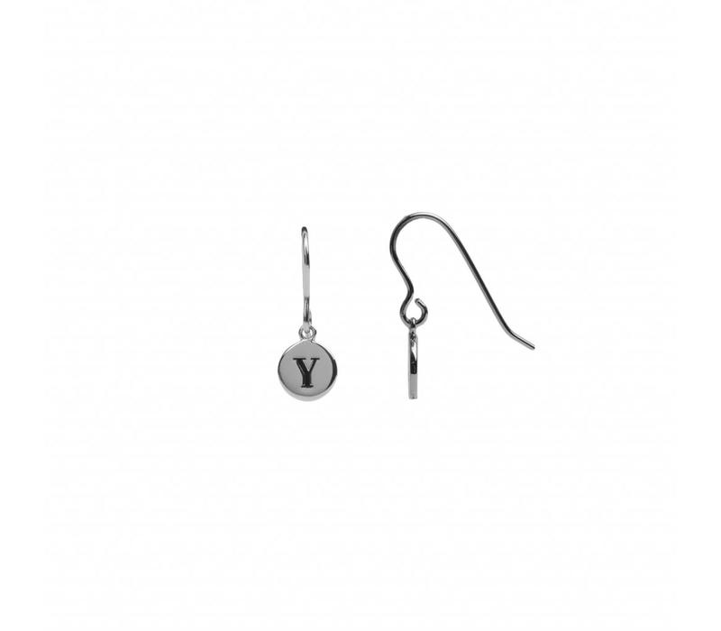 Character Silverplated Earring letter Y