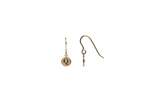 All the Luck in the World Earring letter Q gold
