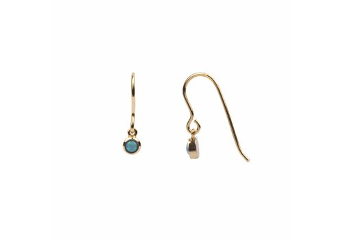 All the luck in the world Oorbel Hook Blauw 18k goud