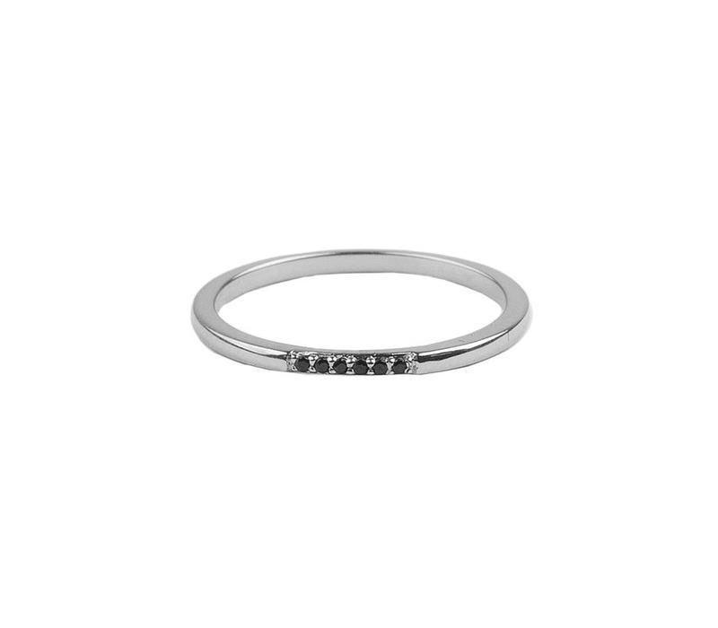 Ring Kleine Stippen Zwart zilver