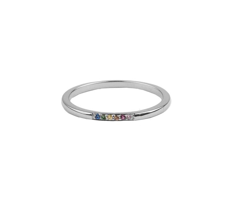 Ring Kleine Stippen Multi zilver