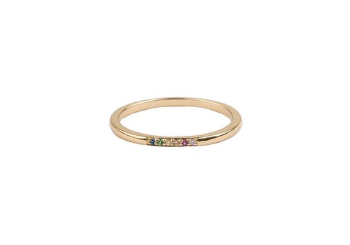 All the Luck in the World Bliss Goldplated Ring Kleine Stippen Multi