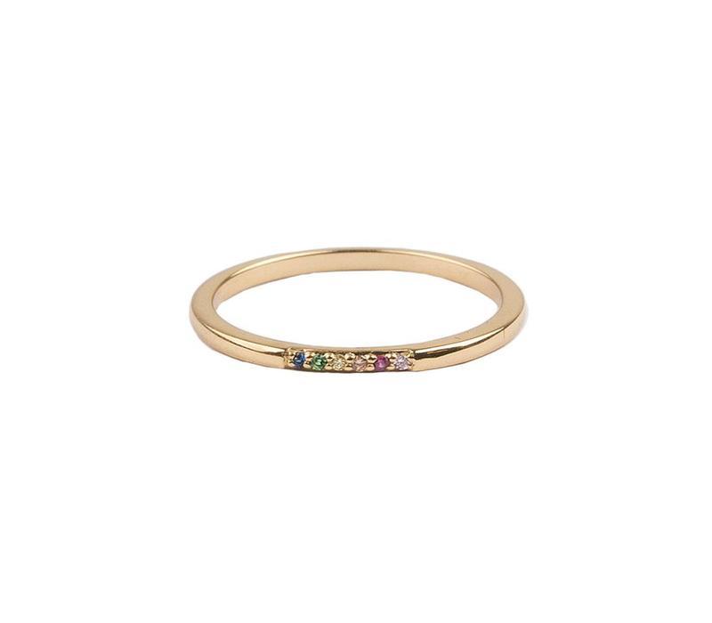 Bliss Goldplated Ring Kleine Stippen Multi