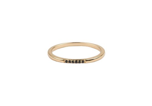 All the Luck in the World Bliss Goldplated Ring Tiny Dots Black