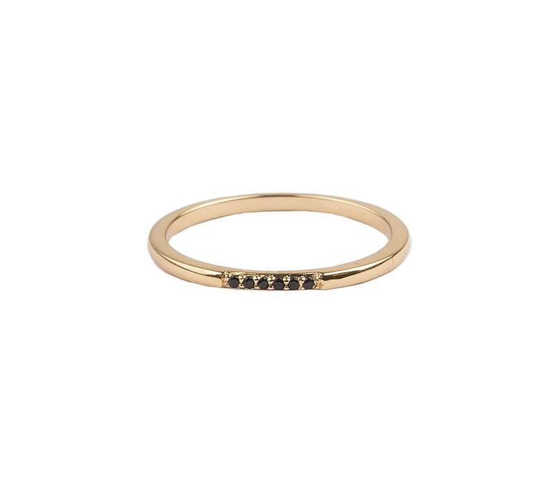 Bliss Goldplated Ring Kleine Stippen Zwart