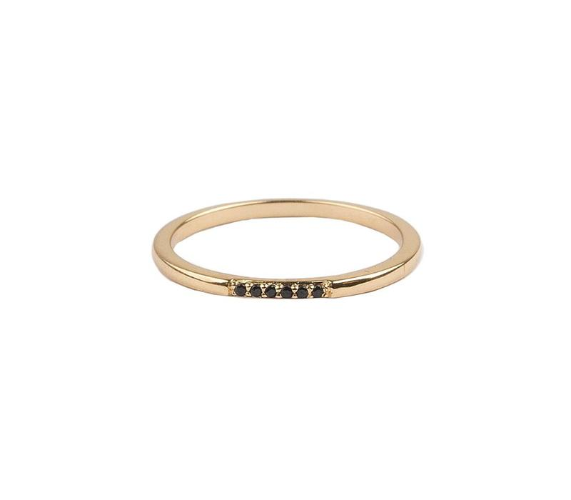 Bliss Goldplated Ring Tiny Dots Black