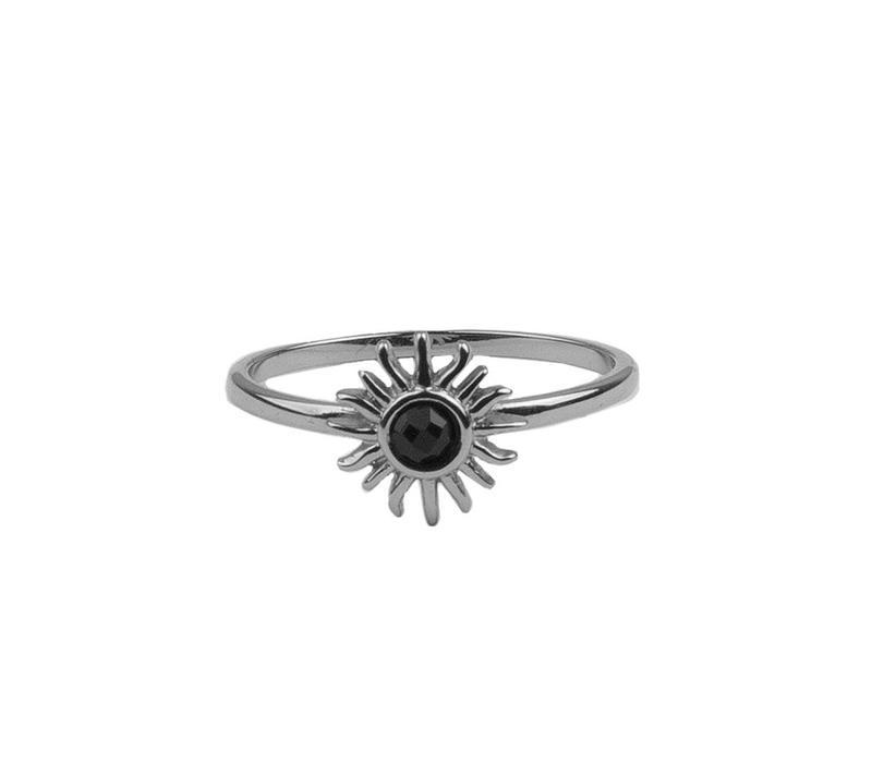 Ring Zon Zwart zilver