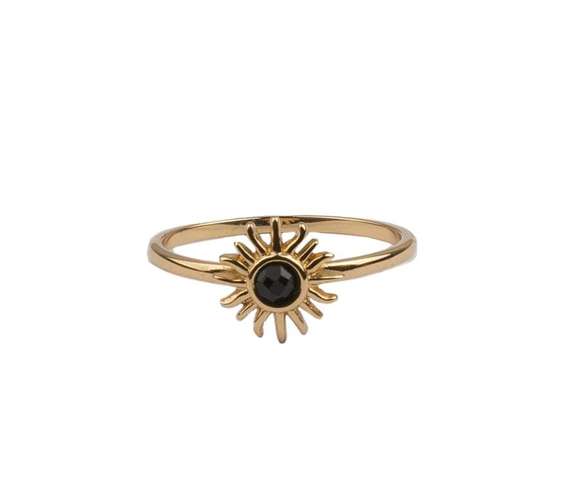 Bliss Goldplated Ring Sun Black