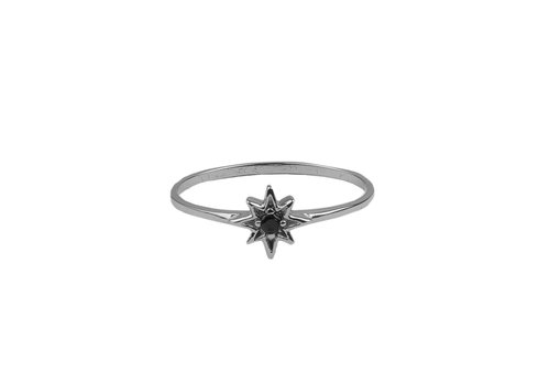 All the Luck in the World Bliss Silverplated Ring Ster Zwart