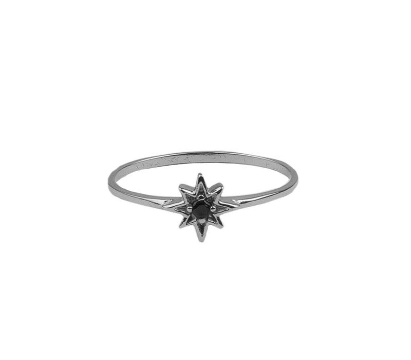 Bliss Silverplated Ring Star Black