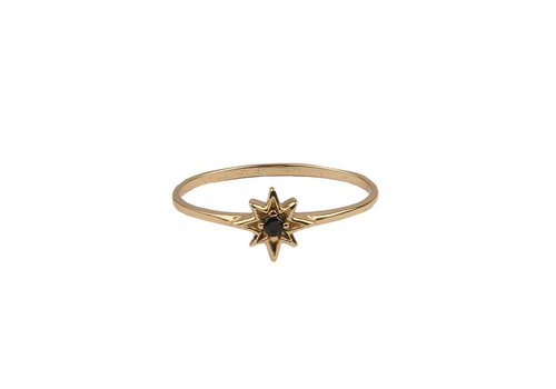 All the Luck in the World Bliss Goldplated Ring Ster Zwart