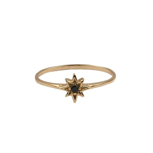 Bliss Goldplated Ring Star Black