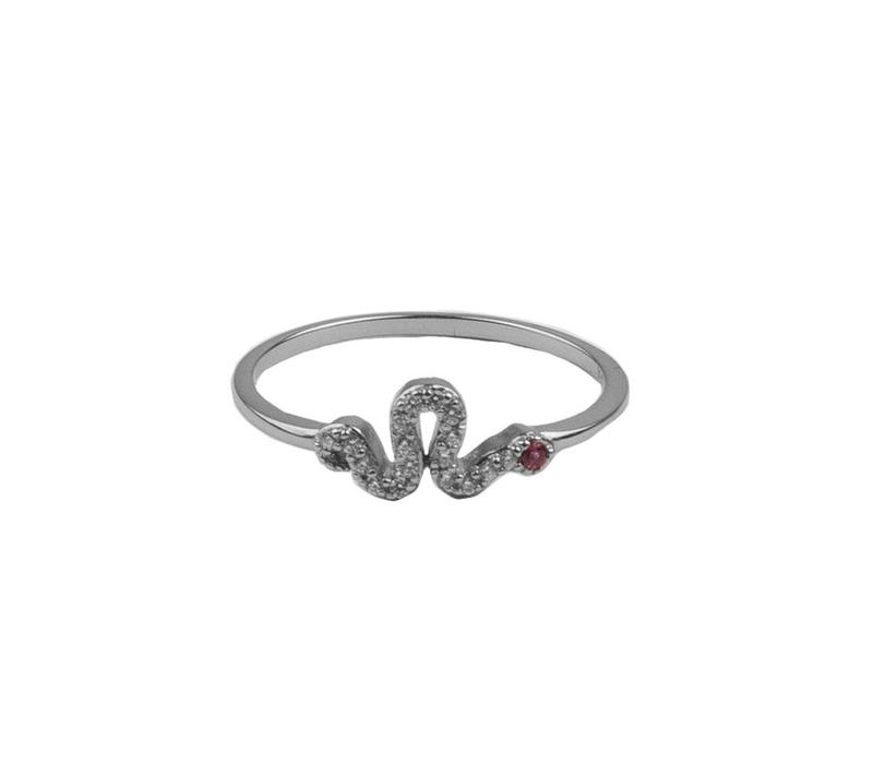 Bliss Silverplated Ring Slang Roze Transparant