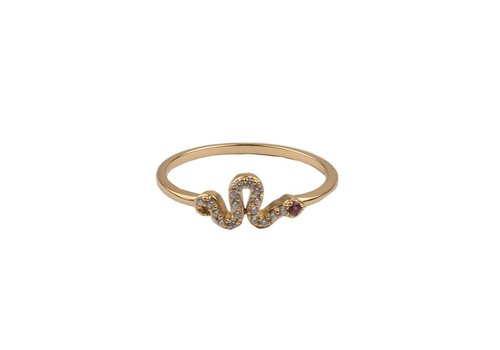 All the Luck in the World Bliss Goldplated Ring Slang Roze Transparant