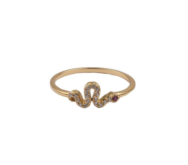 Bliss Goldplated Ring Snake Pink All Clear