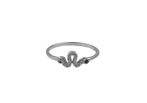 All the Luck in the World Bliss Silverplated Ring Snake Black All Clear