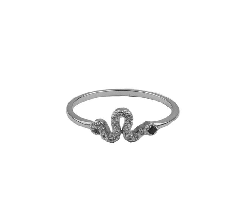 Bliss Silverplated Ring Snake Black All Clear