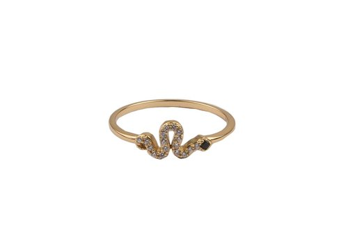 All the Luck in the World Bliss Goldplated Ring slang zwart transparant