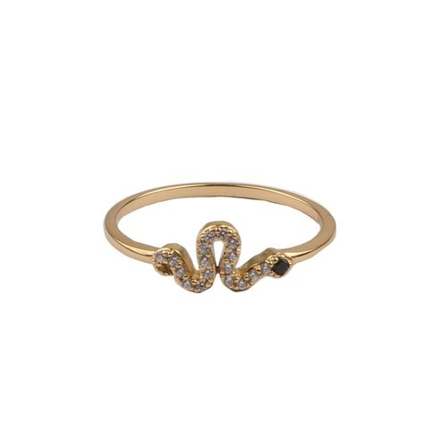 Bliss Goldplated Ring Snake Black All Clear