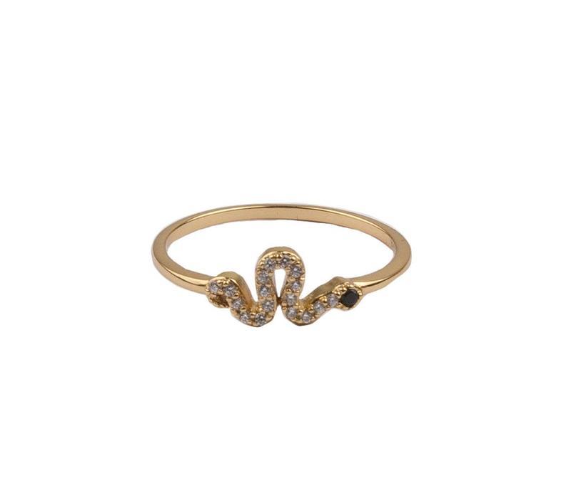 Ring Shimmening Snake Zwart verguld