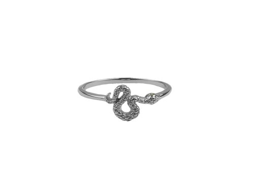 All the Luck in the World Ring Snake Green Eyed silver