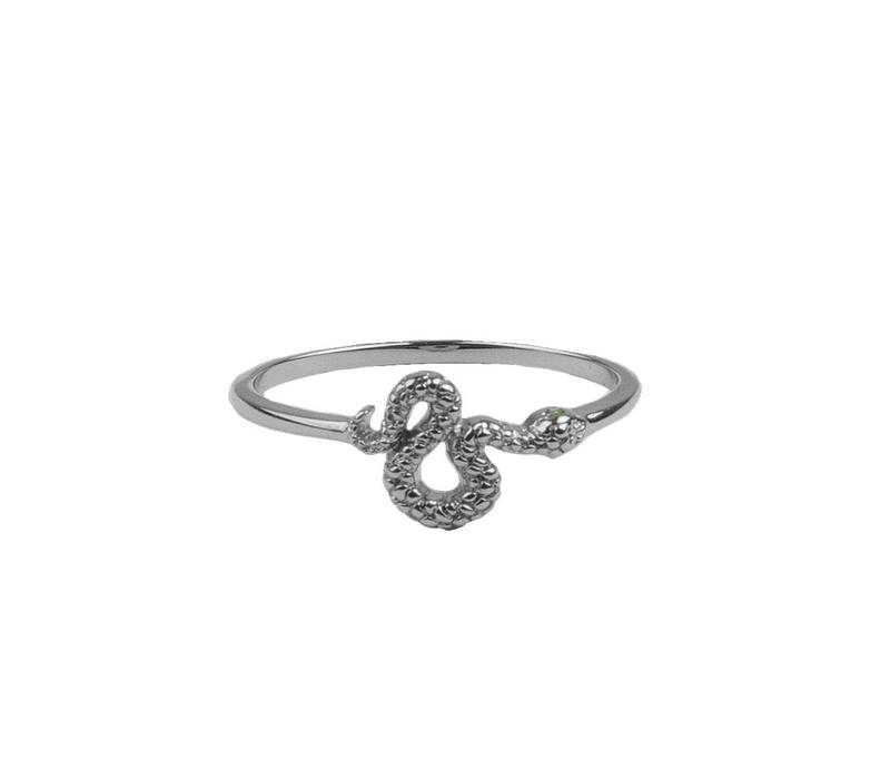 Bliss Silverplated Ring Snake Green Eyed