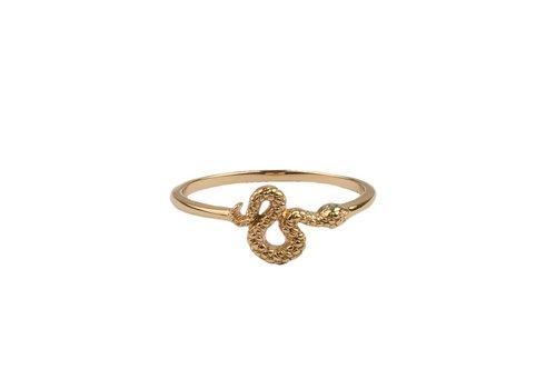 All the Luck in the World Bliss Goldplated Ring Slang Groene Ogen